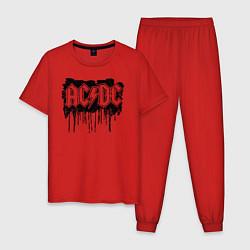 Пижама хлопковая мужская ACDC цвета красный — фото 1