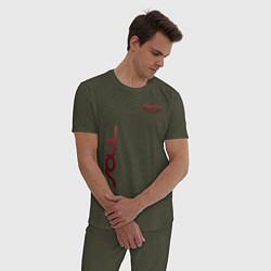 Пижама хлопковая мужская KIA SOUL цвета меланж-хаки — фото 2