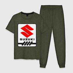 Пижама хлопковая мужская Suzuki цвета меланж-хаки — фото 1