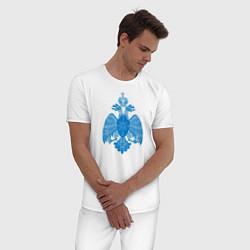 Пижама хлопковая мужская МЧС России цвета белый — фото 2