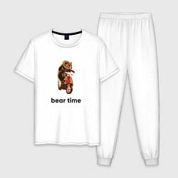 Пижама хлопковая мужская Bear time цвета белый — фото 1