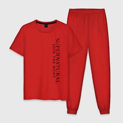 Пижама хлопковая мужская Supernatural: Logo цвета красный — фото 1