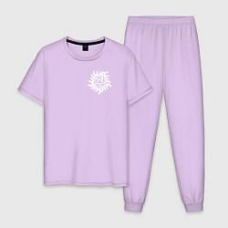 Пижама хлопковая мужская Supernatural Pentagram цвета лаванда — фото 1