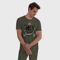 Пижама хлопковая мужская Hey, Ass-Butt цвета меланж-хаки — фото 2
