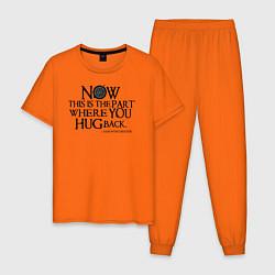 Пижама хлопковая мужская The Part Where You Hug Back цвета оранжевый — фото 1