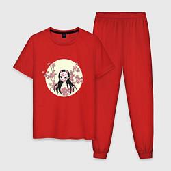 Пижама хлопковая мужская ДЕВУШКА И САКУРА цвета красный — фото 1