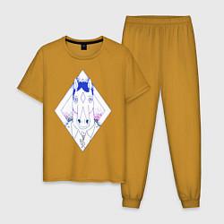 Пижама хлопковая мужская BoJack Horseman цвета горчичный — фото 1