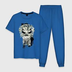 Пижама хлопковая мужская Каратель Череп цвета синий — фото 1