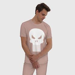 Пижама хлопковая мужская The Punisher Череп цвета пыльно-розовый — фото 2