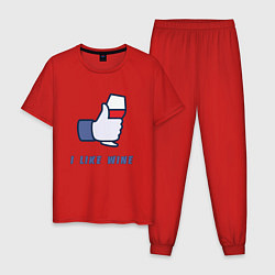 Пижама хлопковая мужская I like Wine цвета красный — фото 1