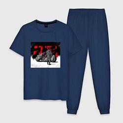 Пижама хлопковая мужская AKIRA цвета тёмно-синий — фото 1