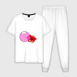 Пижама хлопковая мужская Пузырь цвета белый — фото 1