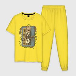 Пижама хлопковая мужская Groot цвета желтый — фото 1