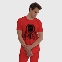 Пижама хлопковая мужская PREDATOR цвета красный — фото 2