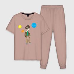 Пижама хлопковая мужская Thoughts of Leonard цвета пыльно-розовый — фото 1