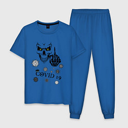 Пижама хлопковая мужская FUCK YOU COVID-19 цвета синий — фото 1