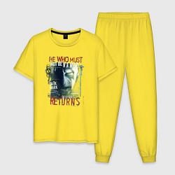 Мужская хлопковая пижама с принтом Гарри Поттер, цвет: желтый, артикул: 10218566105937 — фото 1