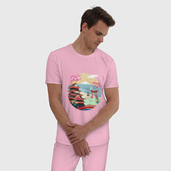 Пижама хлопковая мужская Япония цвета светло-розовый — фото 2