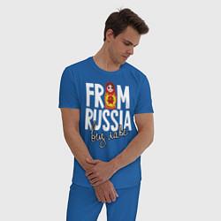 Пижама хлопковая мужская Из России с любовью цвета синий — фото 2