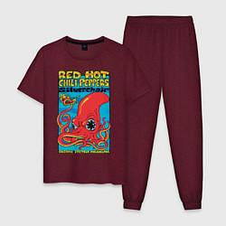 Пижама хлопковая мужская Red Hot Chili Peppers цвета меланж-бордовый — фото 1