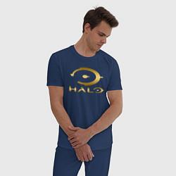 Пижама хлопковая мужская HALO цвета тёмно-синий — фото 2