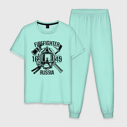 Пижама хлопковая мужская FIREFIGHTER RUSSIA цвета мятный — фото 1
