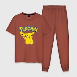 Пижама хлопковая мужская Pikachu цвета кирпичный — фото 1
