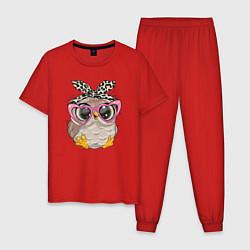 Пижама хлопковая мужская Милая сова на облачках цвета красный — фото 1