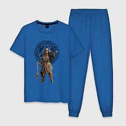 Пижама хлопковая мужская ASSASSINS CREED VALHALLA цвета синий — фото 1