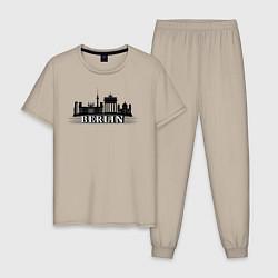 Пижама хлопковая мужская Берлин цвета миндальный — фото 1