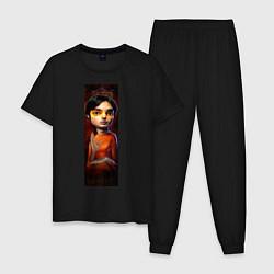 Пижама хлопковая мужская Raj цвета черный — фото 1
