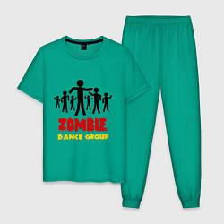 Пижама хлопковая мужская Zombie dance group цвета зеленый — фото 1