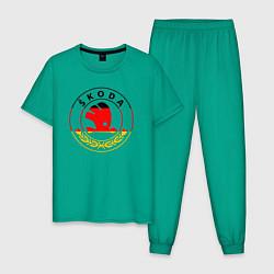 Пижама хлопковая мужская Skoda Z цвета зеленый — фото 1