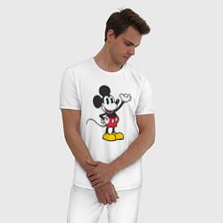 Пижама хлопковая мужская Микки Маус цвета белый — фото 2