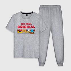 Пижама хлопковая мужская The true original цвета меланж — фото 1