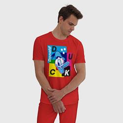 Пижама хлопковая мужская Donald Duck цвета красный — фото 2