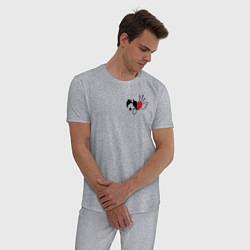 Пижама хлопковая мужская ТИКТОКЕР - PAYTON MOORMEIE цвета меланж — фото 2