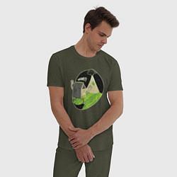 Пижама хлопковая мужская НЛО похищает корову цвета меланж-хаки — фото 2