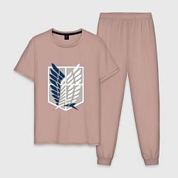 Пижама хлопковая мужская Символ разведки цвета пыльно-розовый — фото 1