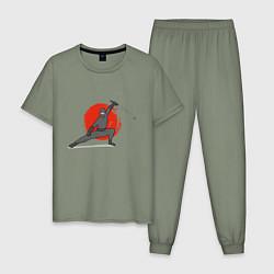 Пижама хлопковая мужская Ninja Z цвета авокадо — фото 1
