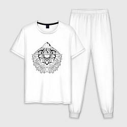 Пижама хлопковая мужская Mountain mandala цвета белый — фото 1