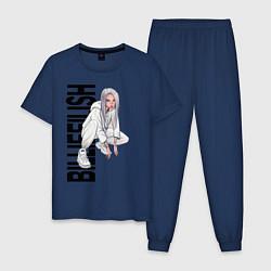 Пижама хлопковая мужская Билли айлиш цвета тёмно-синий — фото 1