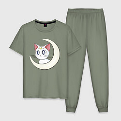 Пижама хлопковая мужская Artemis цвета авокадо — фото 1
