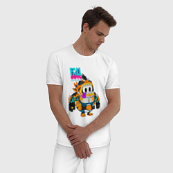 Пижама хлопковая мужская Fall Guys Ultimate Knockout цвета белый — фото 2