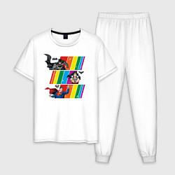 Пижама хлопковая мужская Justice League Rainbow цвета белый — фото 1