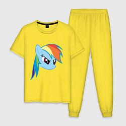 Пижама хлопковая мужская Rainbow Dash цвета желтый — фото 1