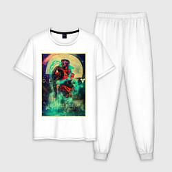 Пижама хлопковая мужская Destiny цвета белый — фото 1