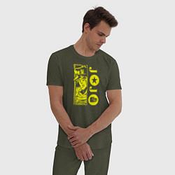 Пижама хлопковая мужская JoJo Bizarre Adventure цвета меланж-хаки — фото 2