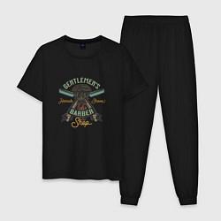 Пижама хлопковая мужская Барбершоп цвета черный — фото 1