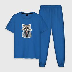 Пижама хлопковая мужская Енот арт цвета синий — фото 1